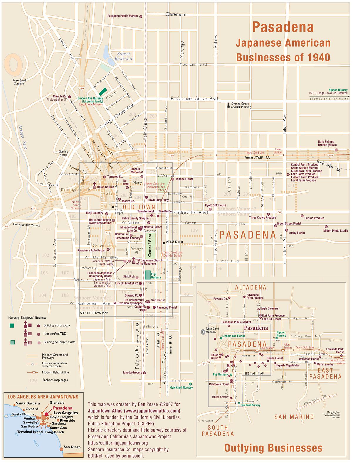 Orange Grove California Map.Japantown Atlas Pasadena