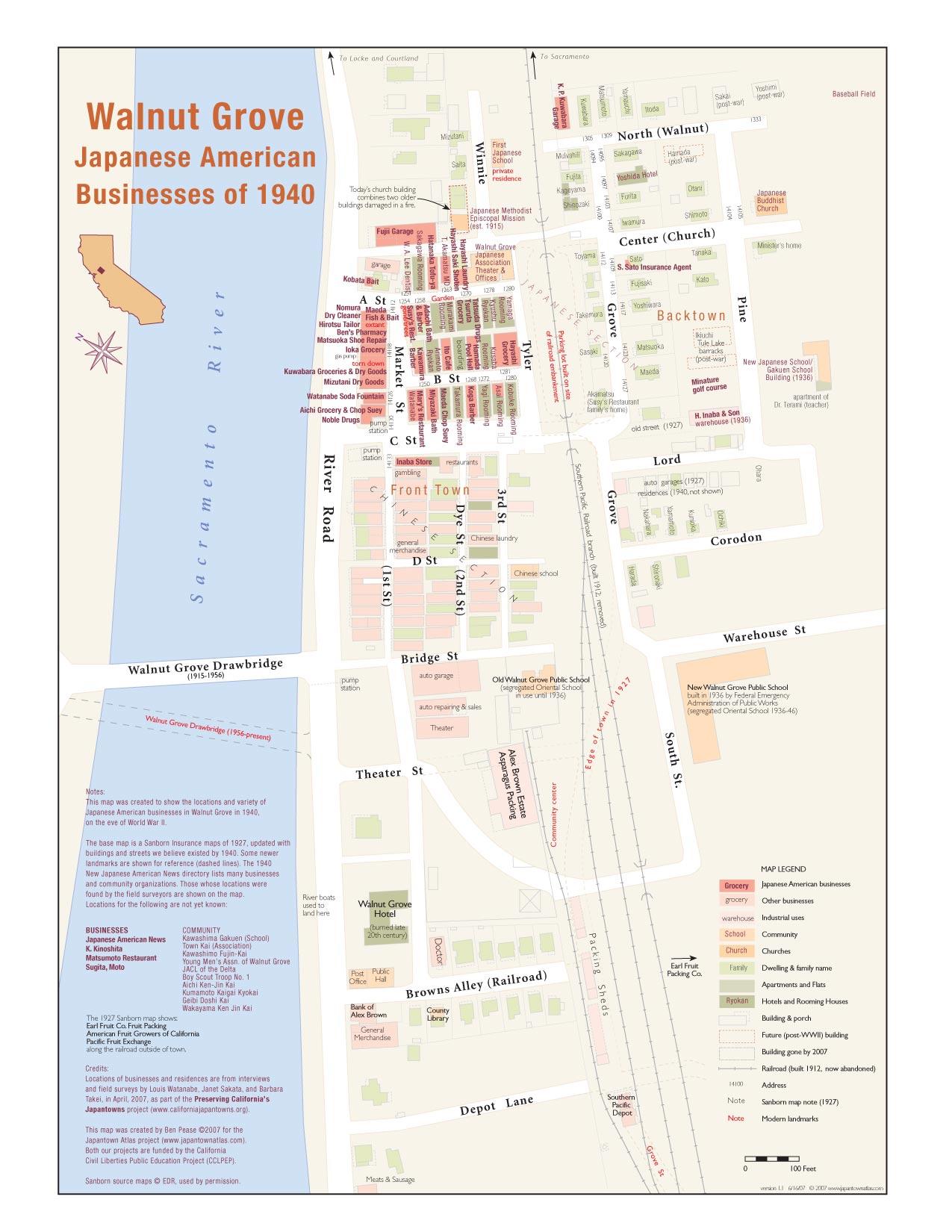 Orange Grove California Map.Walnut Grove Japantown Map